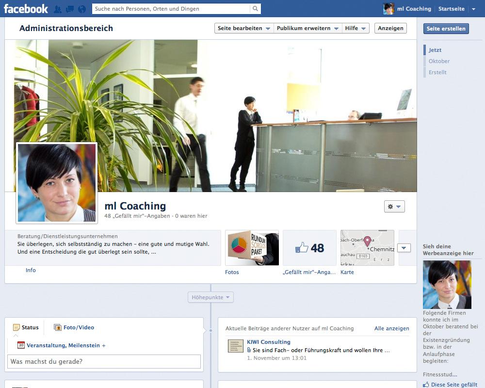 Facebook Page für ml Coaching