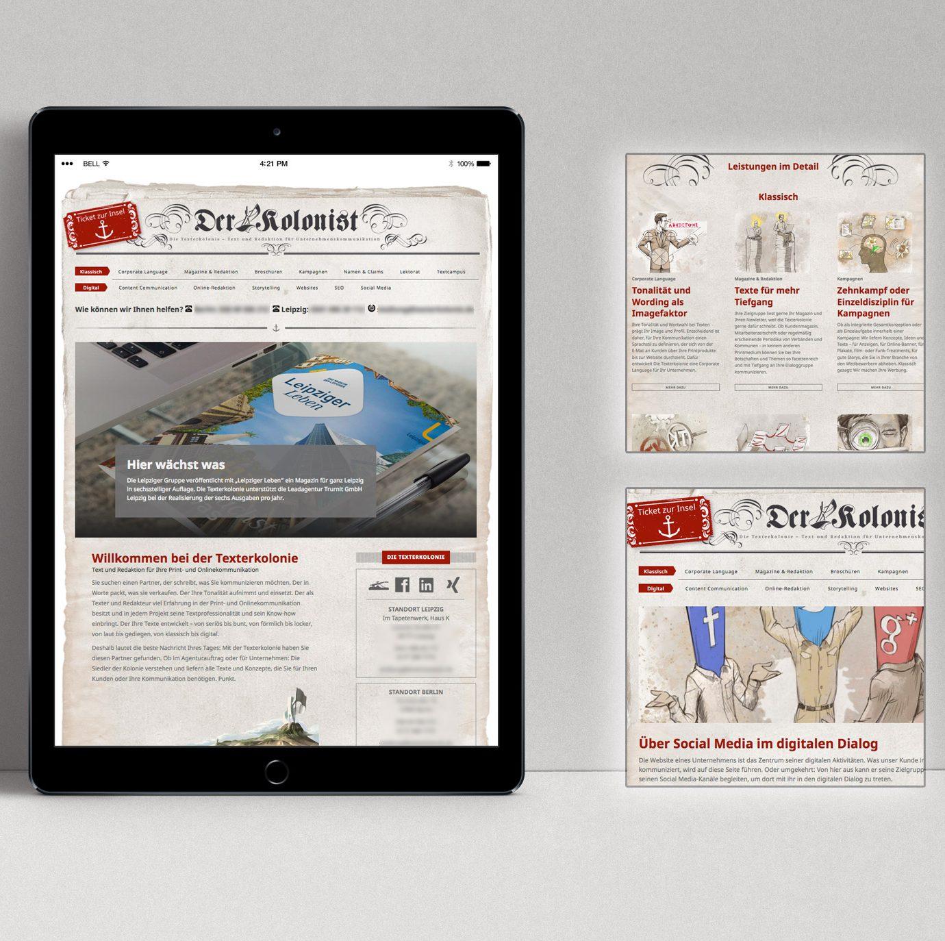 Der Kolonist – eine WordPress-Webseite